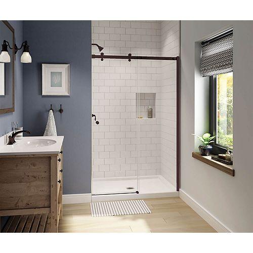 Luminescence 47 inch x 70 1/2 inch Frameless Sliding Shower Door in Dark Bronze