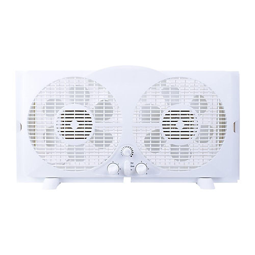 65-Watt 9-inch White Reversible Twin Window Fan