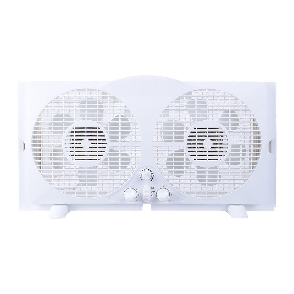 THD Generic 65-Watt 9-inch White Reversible Twin Window Fan