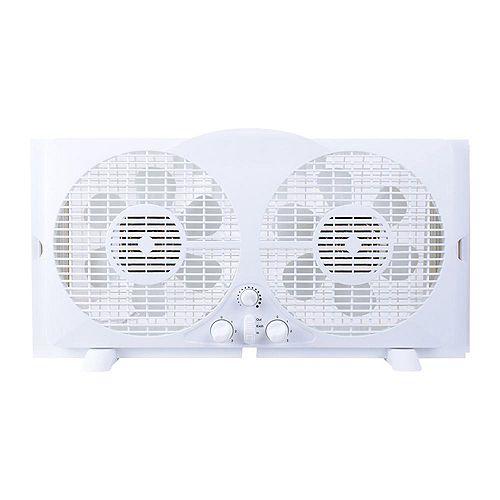 65-Watt 9-inch White Reversible Twin Window Fan
