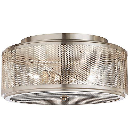Home Decorators Collection 33,02 cm Luminaire encastré, 2 lumières, nickel brossé, abat-jour circulaire en filet métallique
