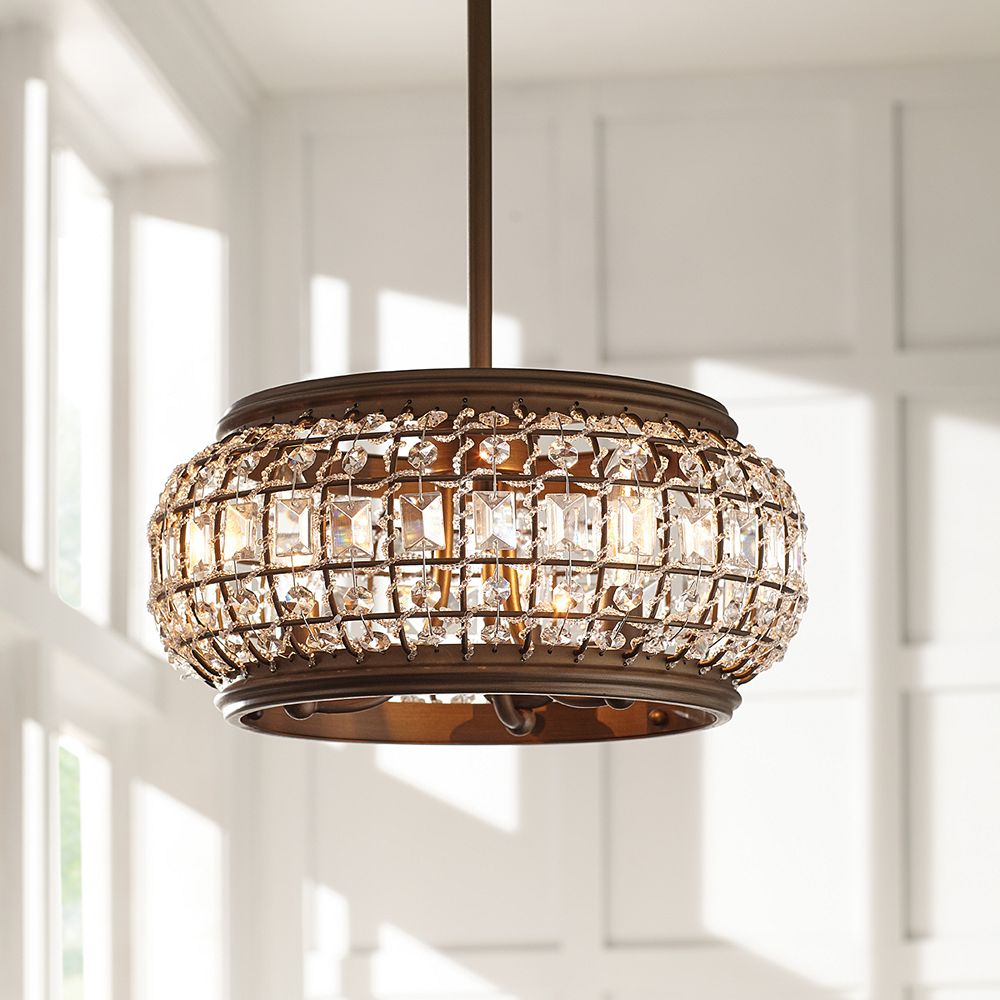 32 Light Brass Convertible Semi Flushmount or Pendant Ceiling Light with  Crystal Shade