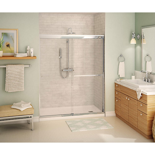 Noble 59 inch x 71 inch Frameless Sliding Shower Door in Chrome with Soft Close