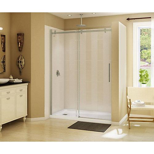 Halo 59 inch x 78 3/4 inch Frameless Sliding Shower Door in Brushed Nickel
