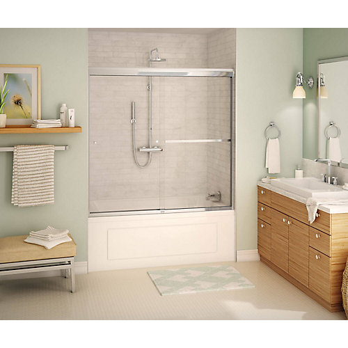 Tonik 59 inch x 57 inch Frameless Sliding Tub Door in Chrome with Soft Close
