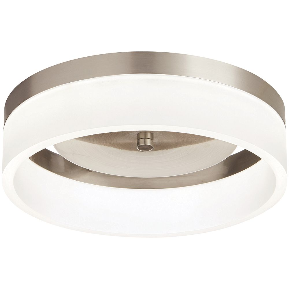 32.32 inch Brushed Nickel Integrated LED Flushmount Light Fixture with  Frosted Shade