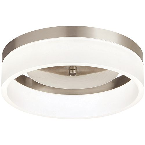 Home Decorators Collection 11.8-inch Brushed Nickel Integrated LED Flushmount Light Fixture with Frosted Shade