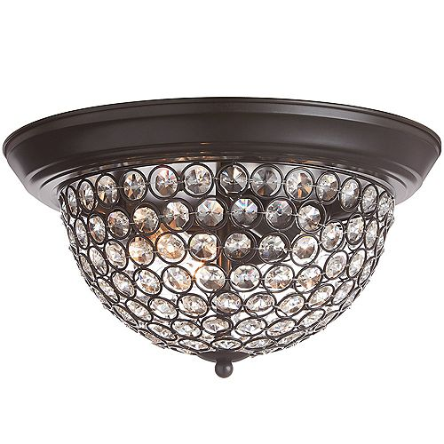 Home Decorators Collection 33,02 cm Luminaire encastré, 3 lumières, fini bronze foncé, abat-jour perlé en verre transparent