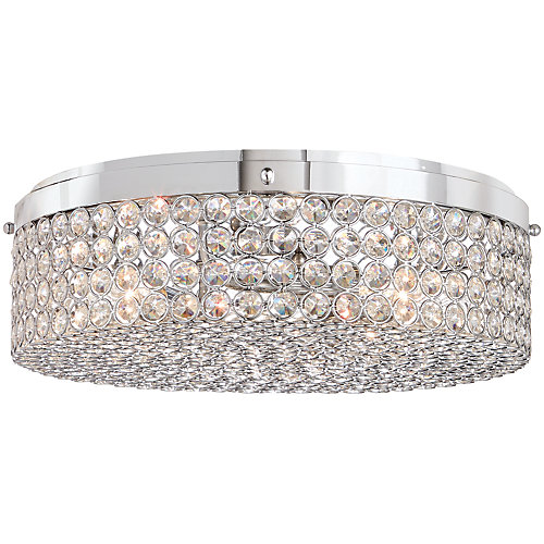 13.75-inch 3-Light Chrome Finish Flushmount Light with Clear Glass Beaded Shade