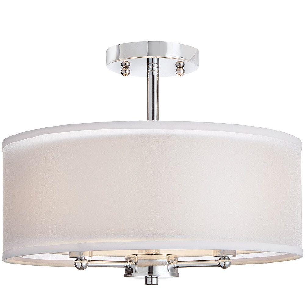 Home Decorators Collection 38,1 cm Luminaire semi-encastré, 3 lumières, fini chrome, avec double abat-jour en tissu