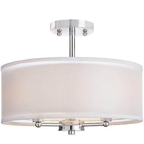38,1 cm Luminaire semi-encastré, 3 lumières, fini chrome, avec double abat-jour en tissu