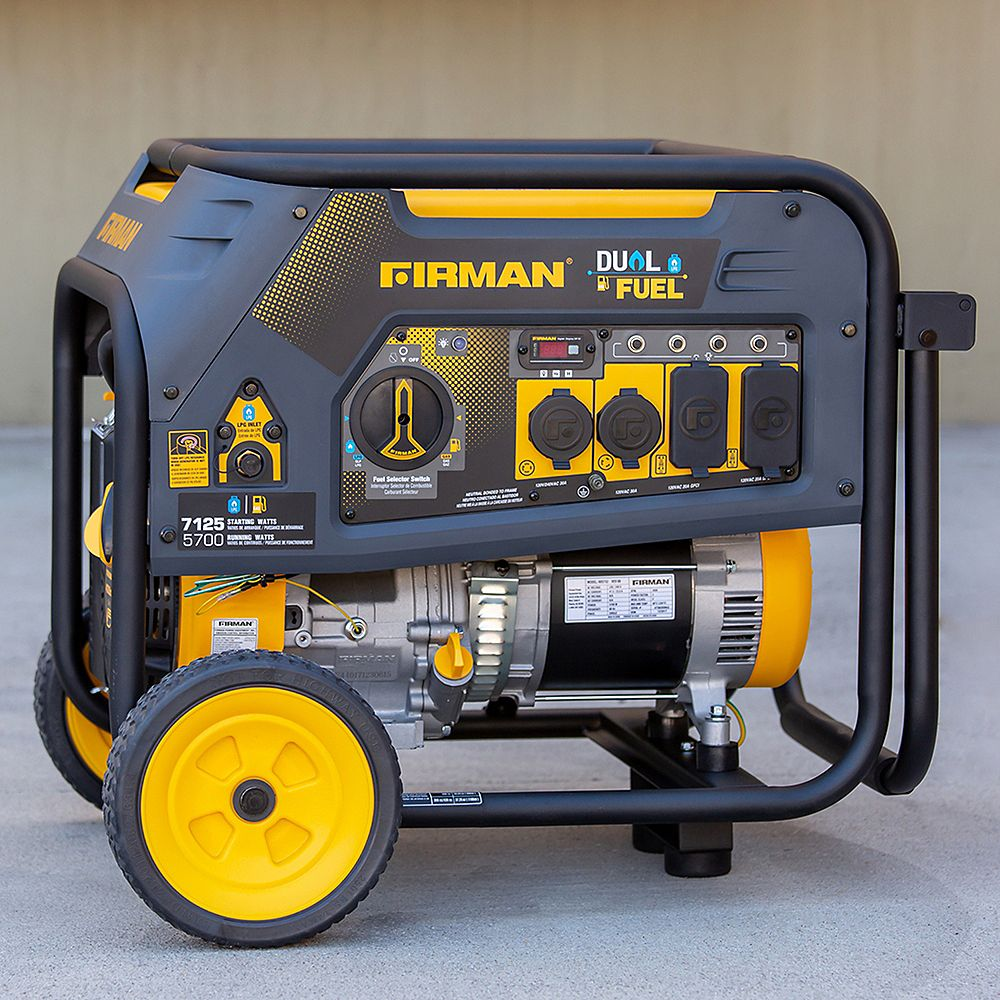 FIRMAN 7125/5700: GAS 7125/5700: LPG Watt 30A 120/240V Recoil Start Gas or Propane Dual Fuel Portable Generator cETL Certified