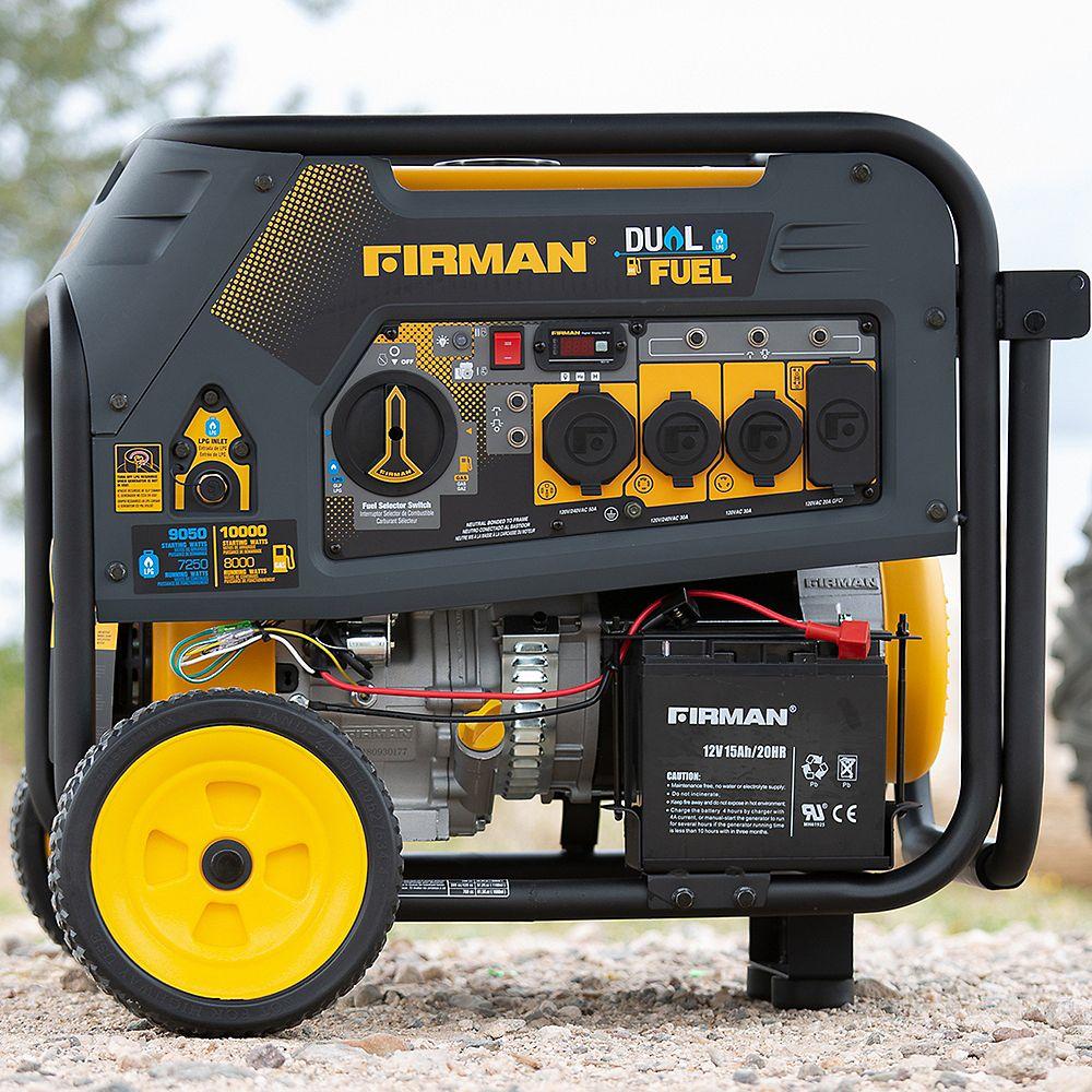 FIRMAN 10000/8000 Watt 120/240V 30/50A Electric Start Gas or Propane Dual Fuel Portable Generator cTEL Certified