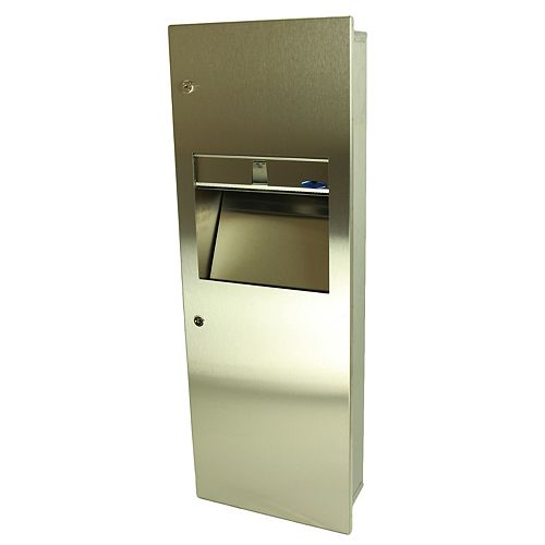 Frost Combination Paper Towel Dispenser/Disposal, Medium Size, Manual, Recessed