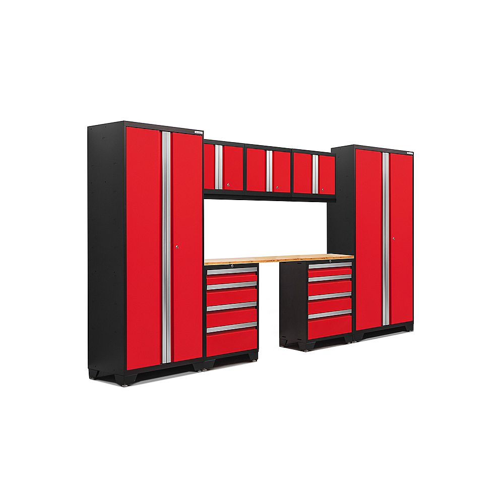 NewAge Products Inc. Bold Series 8-Piece Garage Cabinet Set in Red