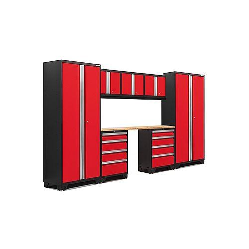 Bold Series 8-Piece Garage Cabinet Set in Red
