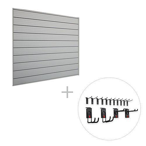 Track Wall Starter Bundle, 16 sq. Feet (4 Feet x 4 Feet) & 15-Piece Hook Kit.