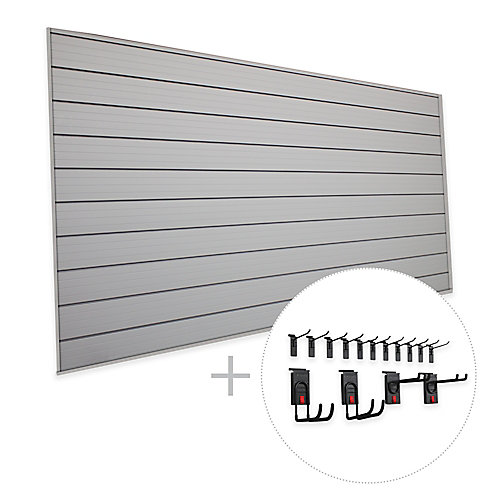 Track Wall 32 sq. Feet (8 Feet x 4 Feet) & 15-Piece Hook Kit 'Space Saver' Bundle