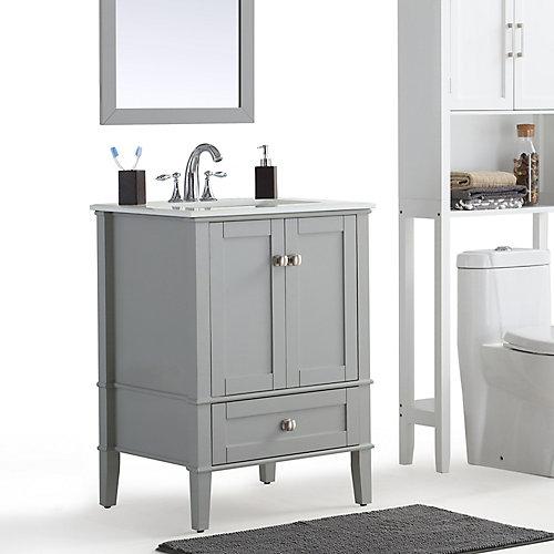 Chelsea - Meuble-lavabo 24po avec dessus en marbre blanc