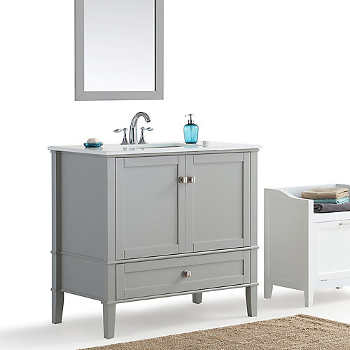 Chelsea 36-inch Bath Vanity with White Quartz Marble Top