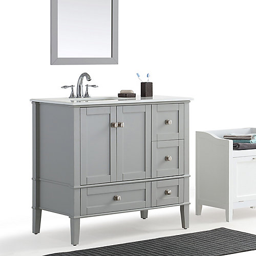 Chelsea - Meuble-lavabo 36po, côté gauche décalé avec dessus en marbre blanc