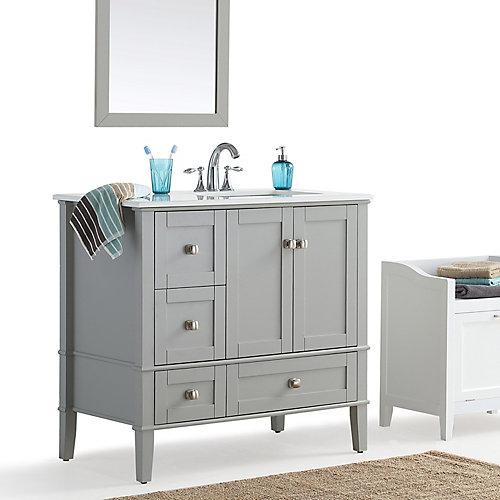 Chelsea - Meuble-lavabo 36po, côté droit décalé avec dessus en marbre blanc