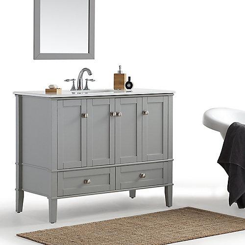 Chelsea - Meuble-lavabo 42po avec dessus en marbre blanc