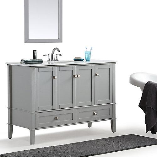 Chelsea 48-inch Bath Vanity with White Quartz Marble Top