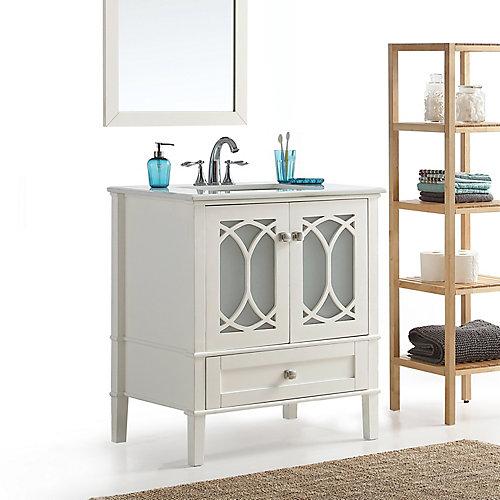 Paige - Meuble-lavabo 30po avec dessus en marbre blanc