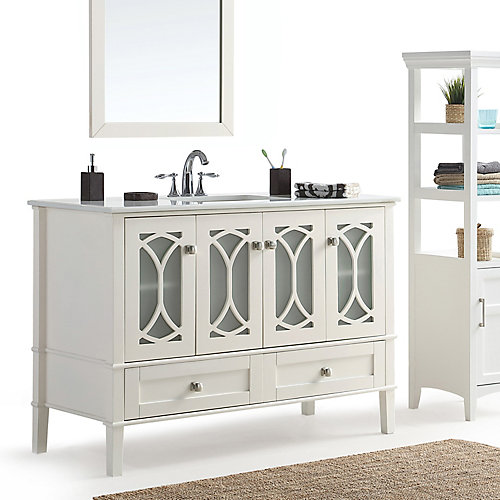 Paige - Meuble-lavabo 48po avec dessus en marbre blanc