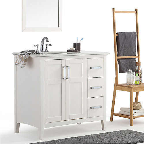 Winston 36-inch Left Offset Bath Vanity with Quartz Marble Top