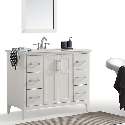 Meuble-lavabo Winston, dessus en quartz imitation de marbre, 42 po
