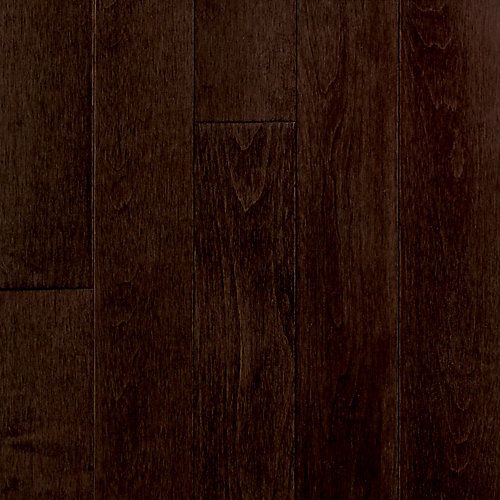 Plancher, bois massif, 3 1/4 po x 3/4 po x longueurs variées, Bouleau du Canada café, 22 pi2/boîte