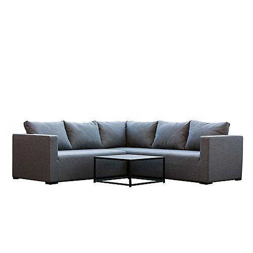 Ensemble de sièges sectionnels extérieurs South Beach, aluminium, 3 pièces
