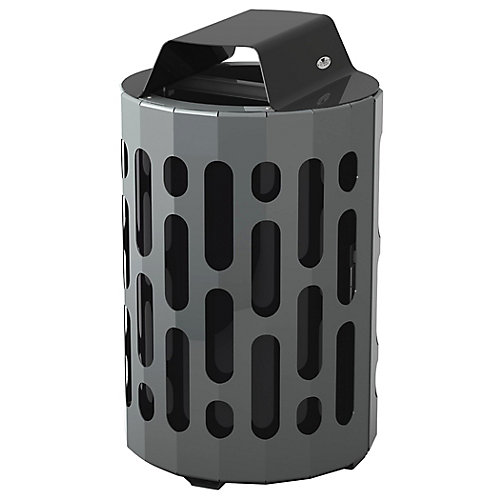 Steel Outdoor Waste Receptacle Black/Grey Finish