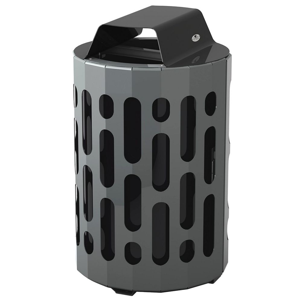 Frost Steel Outdoor Waste Receptacle Black/Grey Finish