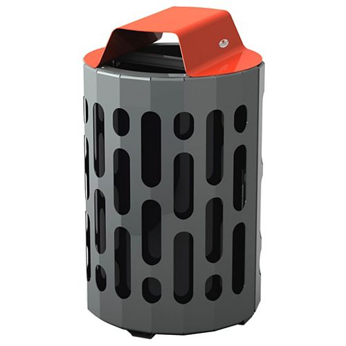 Frost Steel Outdoor Waste Receptacle Red/Grey Finish