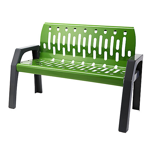 Steel 4 ft. Outdoor Bench in Green/Grey Finish