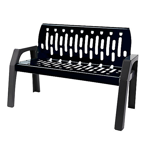 Steel 4 Feet Outdoor Bench Black/Grey Finish
