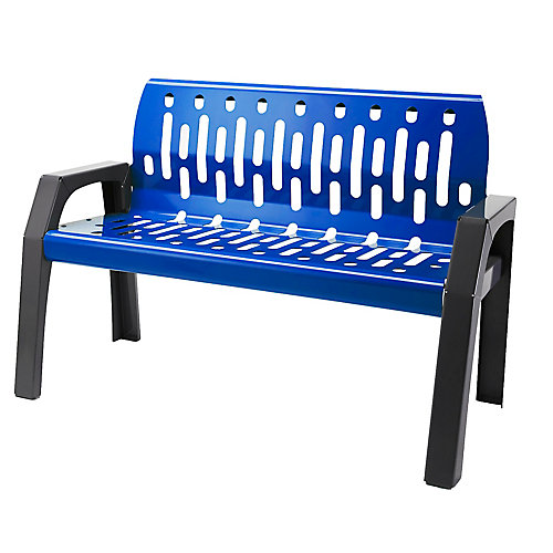 Steel 4 Feet Outdoor Bench Blue/Grey Finish