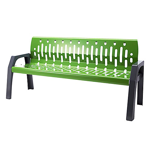 Steel 6 Feet Outdoor Bench Green/Grey Finish