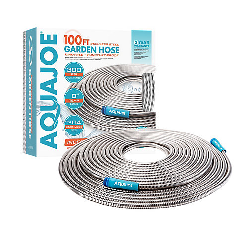 Heavy-Duty 100 ft. Spiral Constructed Stainless Steel Garden Hose