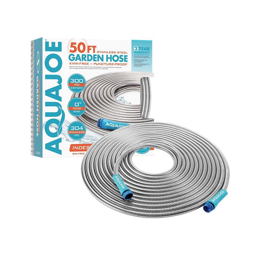 Aqua Joe 50 ft. Heavy-Duty Spiral Constructed Metal Garden Hose