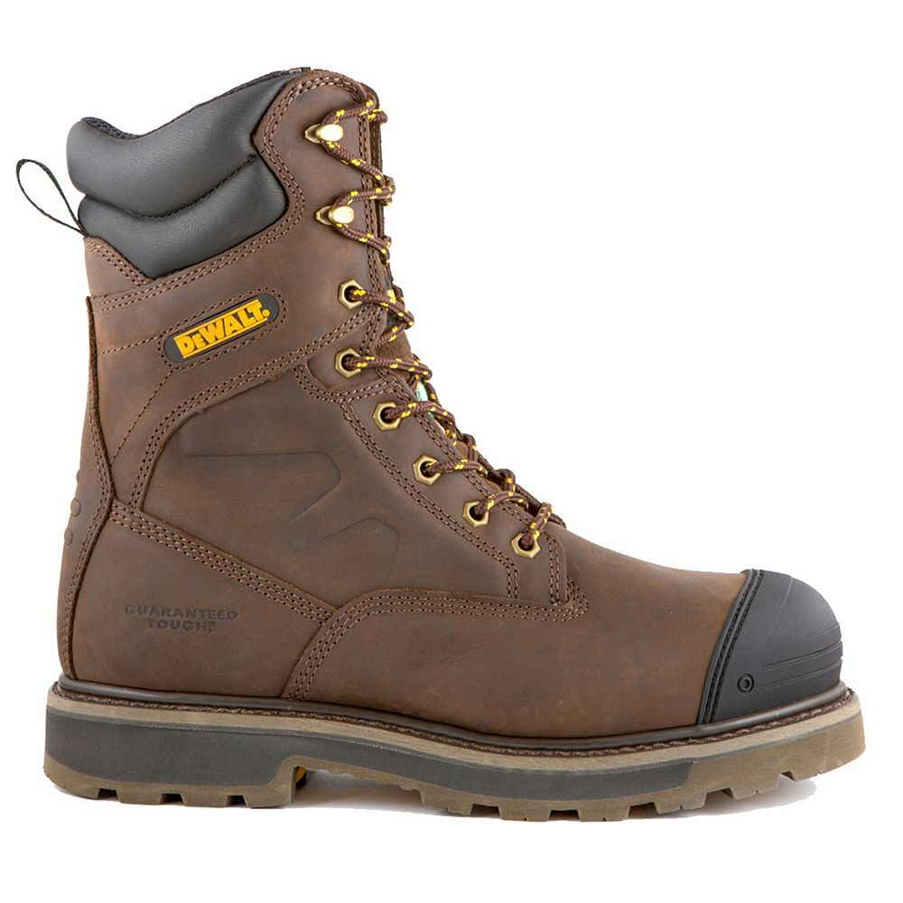 DEWALT Industrial Footwear Impact- Hommes 8in. Taille 10(M) marron cuir Bout en aluminium/ Résistant aux perforations Chaussure