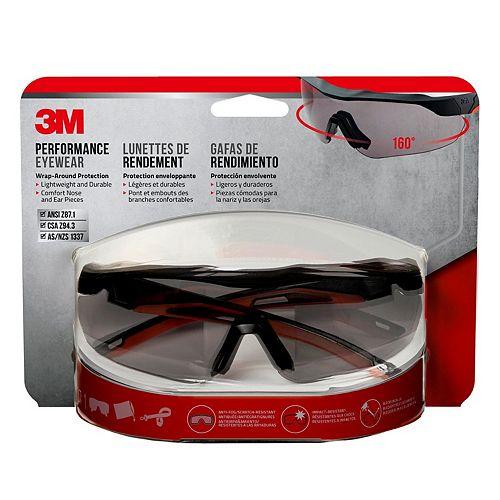 3M Performance Eyewear,  anti-fog, black/red, grey lens