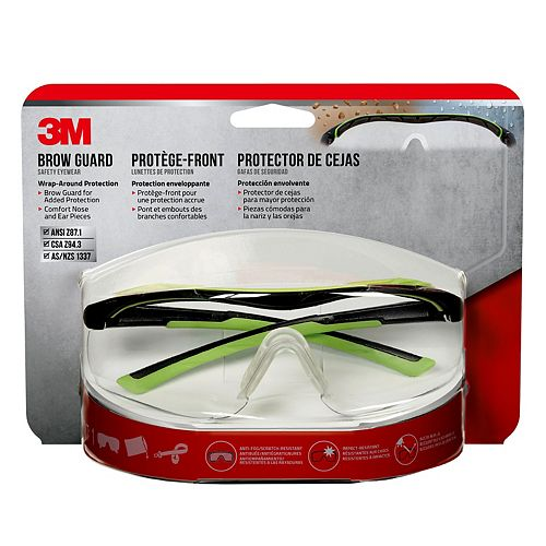3M Brow Guard Eyewear, 47100H1-DC, black/green frame, clear lens