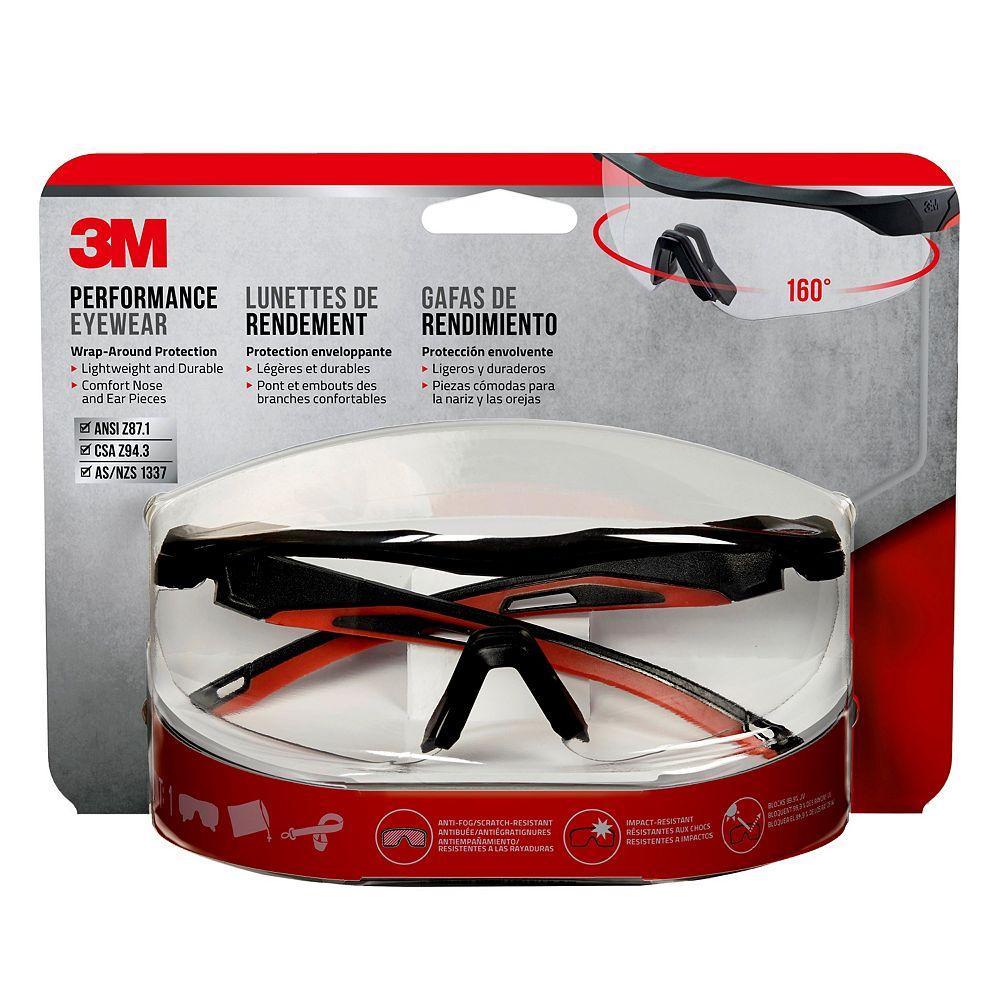 3M Lunettes de grand rendement 3M(MC), 47090H1-DC, monture noire et rouge, verres transparents