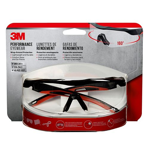 3M Performance Eyewear, 47090H1-DC, black/red, clear lens
