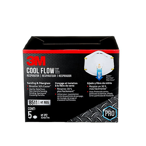 Cool Flow Sanding and Fibreglass Disposable Respirator, 8511HB2-C-P, valved, white, 5/pack