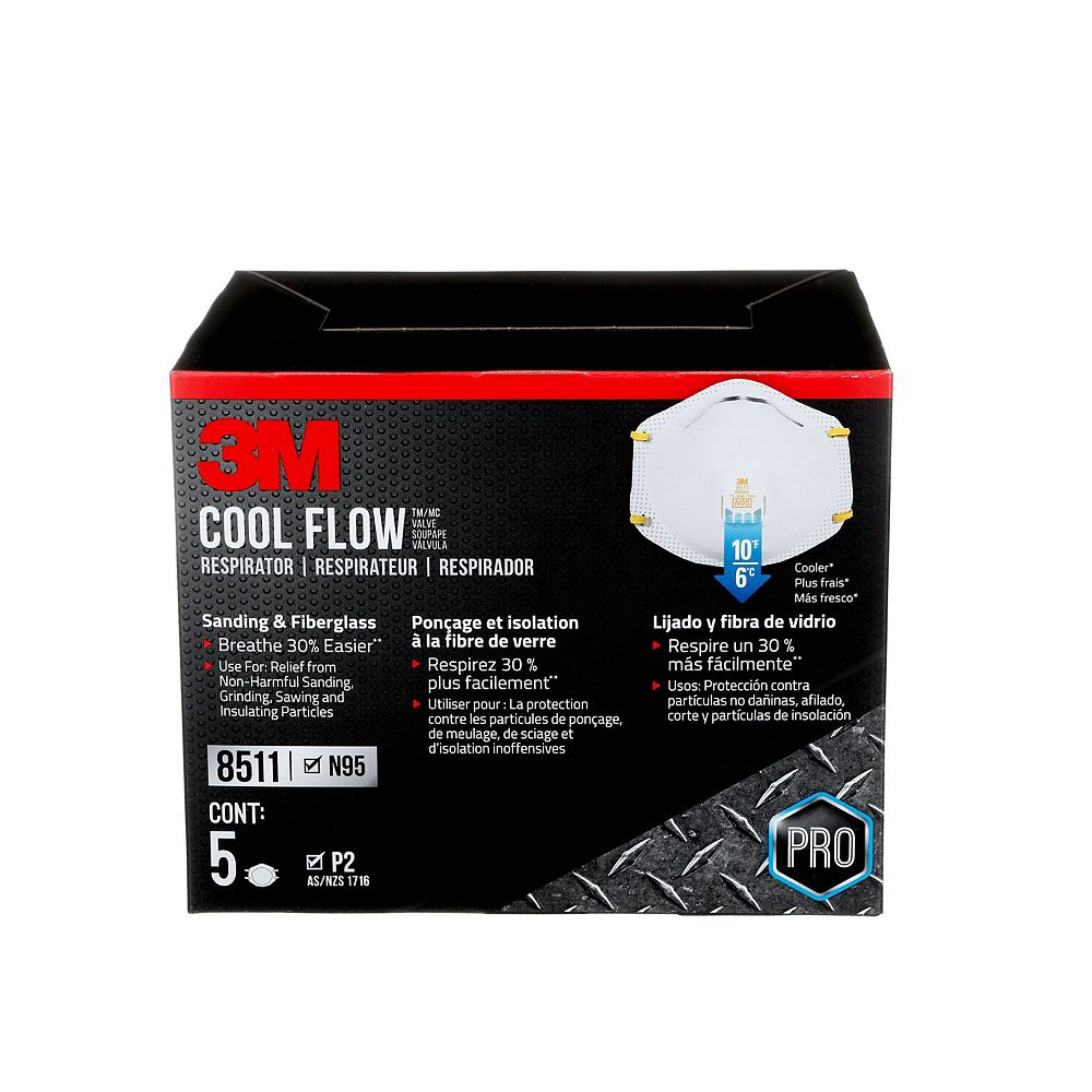 3M Cool Flow Sanding and Fibreglass Disposable Respirator, 8511HB2-C-P, valved, white, 5/pack